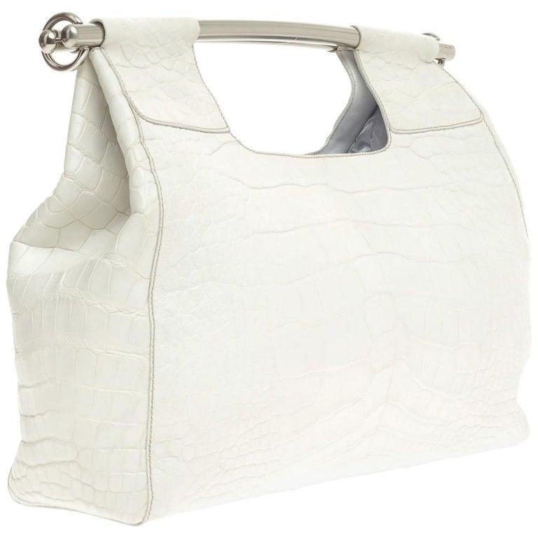 Prada White XL Exotic Alligator Skin Bag Tote Hand Bag For Sale