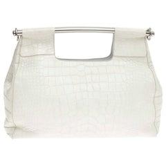 Prada White XL Size Exotic Alligator Crocodile Skin Bag Tote Hand Bag