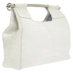 Prada White XL Size Exotic Alligator Skin Bag Tote Hand Bag