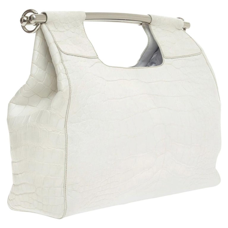 Prada White XL Size Exotic Alligator Skin Bag Tote Hand Bag For Sale
