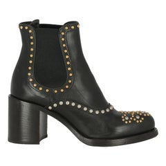 Prada Woman Ankle boots Black Leather IT 36