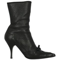 Prada Woman Ankle boots Black Leather IT 40