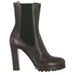 Prada Woman Ankle boots Brown Leather IT 38.5