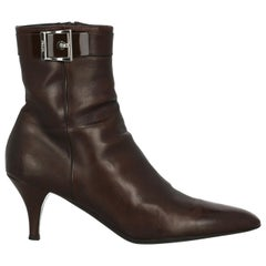 Prada Woman Ankle boots Brown Leather IT 40