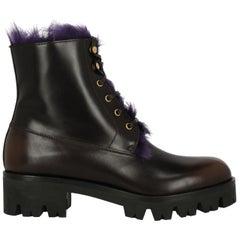 Prada Woman Ankle boots Brown, Purple IT 37