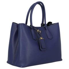 Prada Woman Handbag Double Navy Leather
