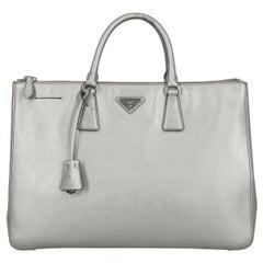 Prada Woman Handbag Galleria Silver Leather