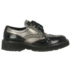 Prada Woman Lace-up Anthracite Leather IT 37