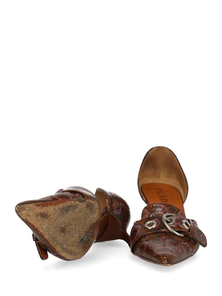 Women's Prada Woman Pumps Brown Leather IT 38
