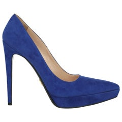 Prada Woman Pumps Navy Leather IT 40.5