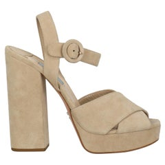 Prada Woman Sandals Beige Leather IT 39.5