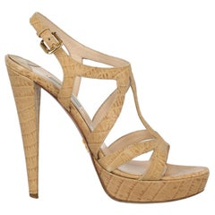 Prada Woman Sandals Beige Leather IT 40