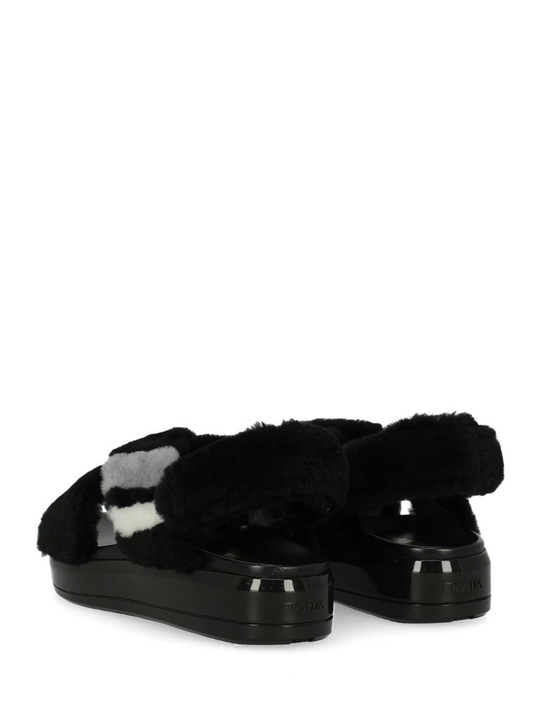 Prada Woman Sandals Black, Grey, White IT 36 In Excellent Condition For Sale In Milan, IT