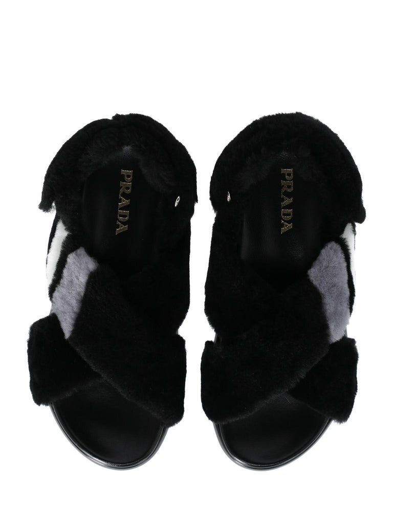 Women's Prada Woman Sandals Black, Grey, White IT 36 For Sale