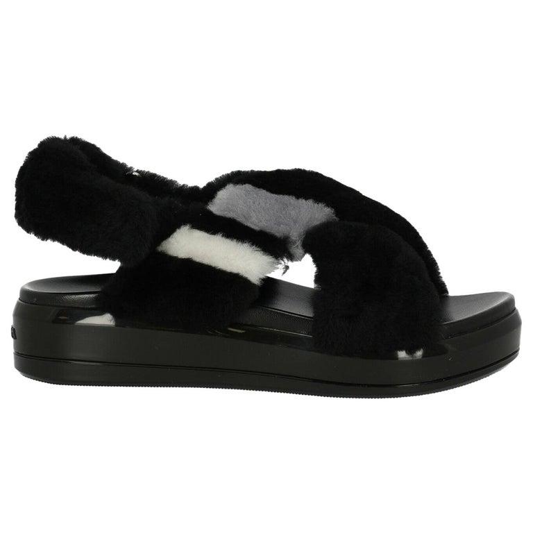 Prada Woman Sandals Black, Grey, White IT 36 For Sale