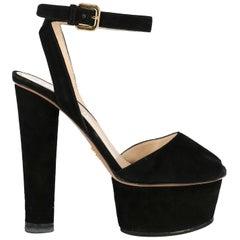 Prada Woman Sandals Black Leather IT 37