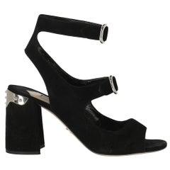 Prada Woman Sandals Black Leather IT 38.5