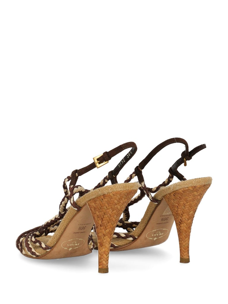 Prada Woman Sandals Brown, Ecru IT 36.5 In Fair Condition For Sale In Milan, IT