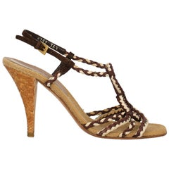 Prada Woman Sandals Brown, Ecru IT 36.5