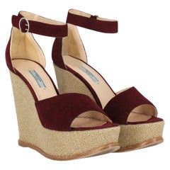 Prada Woman Sandals Burgundy Leather IT 41