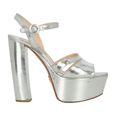 Prada Woman Sandals Silver Leather IT 38.5