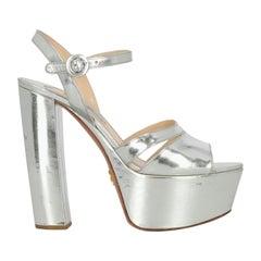 Prada Woman Sandals Silver Leather IT 38.5