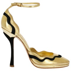 Prada Woman Shoes Pumps Black/Gold Leather EU 39