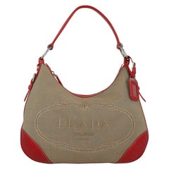 Prada Woman Shoulder bag  Beige Cotton