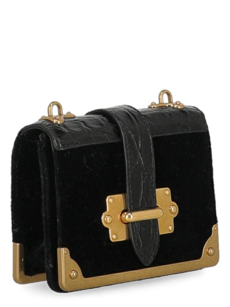 Prada Woman Shoulder bag Cahier Black Fabric In Excellent Condition In Milan, IT