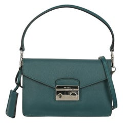 Prada Woman Shoulder bag Sound Green Leather