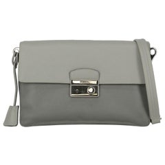 Prada Woman Shoulder bag Sound Grey Leather