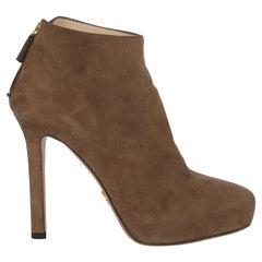 Prada Women  Ankle boots Beige Leather IT 37.5