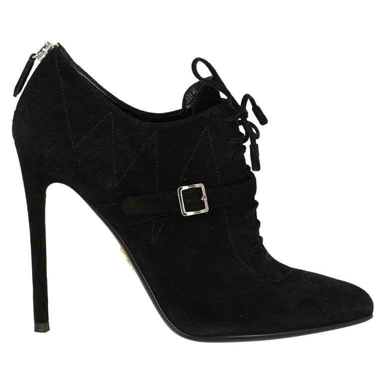 Prada  Women   Ankle boots  Black Leather EU 37.5 For Sale