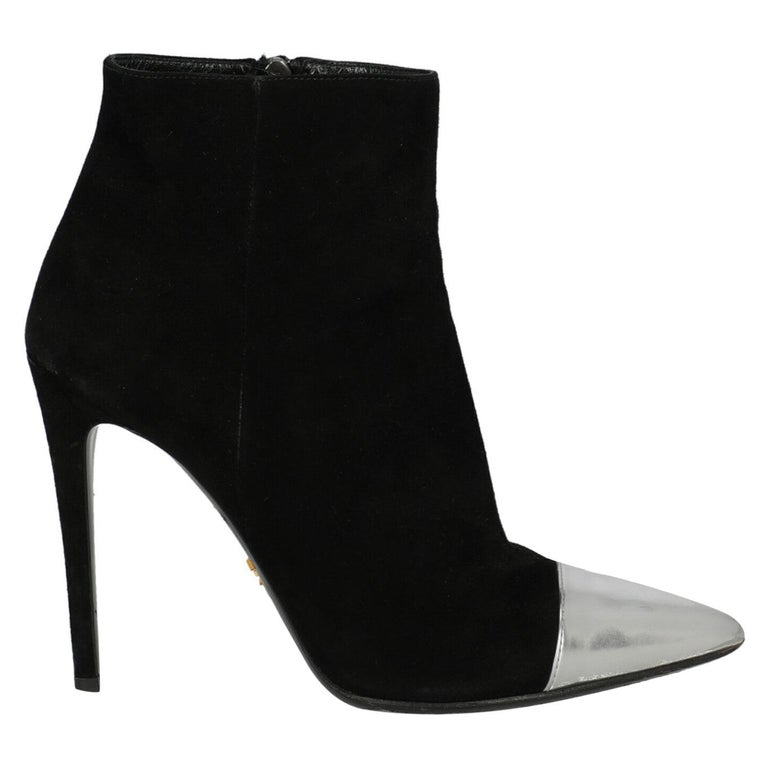 Prada  Women   Ankle boots  Black Leather EU 38.5 For Sale