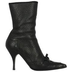 Prada  Women   Ankle boots  Black Leather EU 40