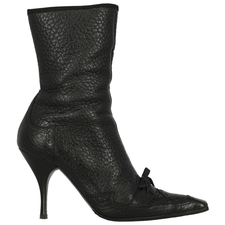 Prada  Women   Ankle boots  Black Leather EU 40 For Sale