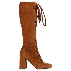 Prada Women  Boots Camel Color Leather IT 39
