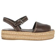 Prada Women  Espadrillas Brown Leather IT 39