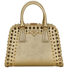 Prada  Women   Handbags  Ecru, Gold Leather