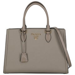 Prada  Women Handbags  Grey Leather