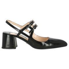 Prada Women  Pumps Black Leather IT 38.5