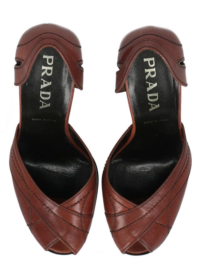 Prada  Women Pumps  Brown Leather EU 38.5 For Sale 1