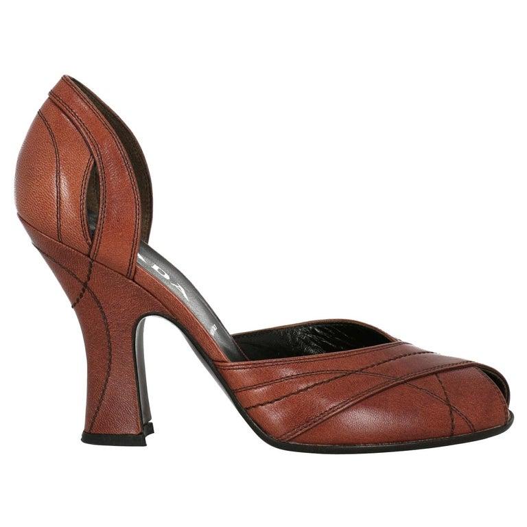 Prada  Women Pumps  Brown Leather EU 38.5 For Sale