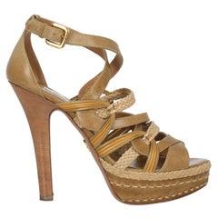 Prada Women  Sandals Beige Leather IT 39