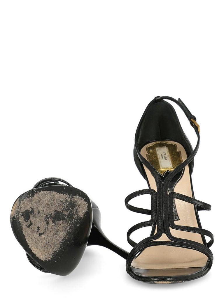 Women's Prada  Women   Sandals  Black Leather EU 39.5 For Sale