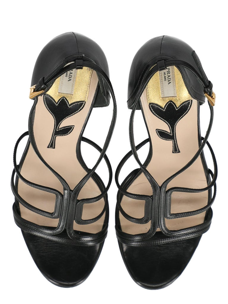 Prada  Women   Sandals  Black Leather EU 39.5 For Sale 1
