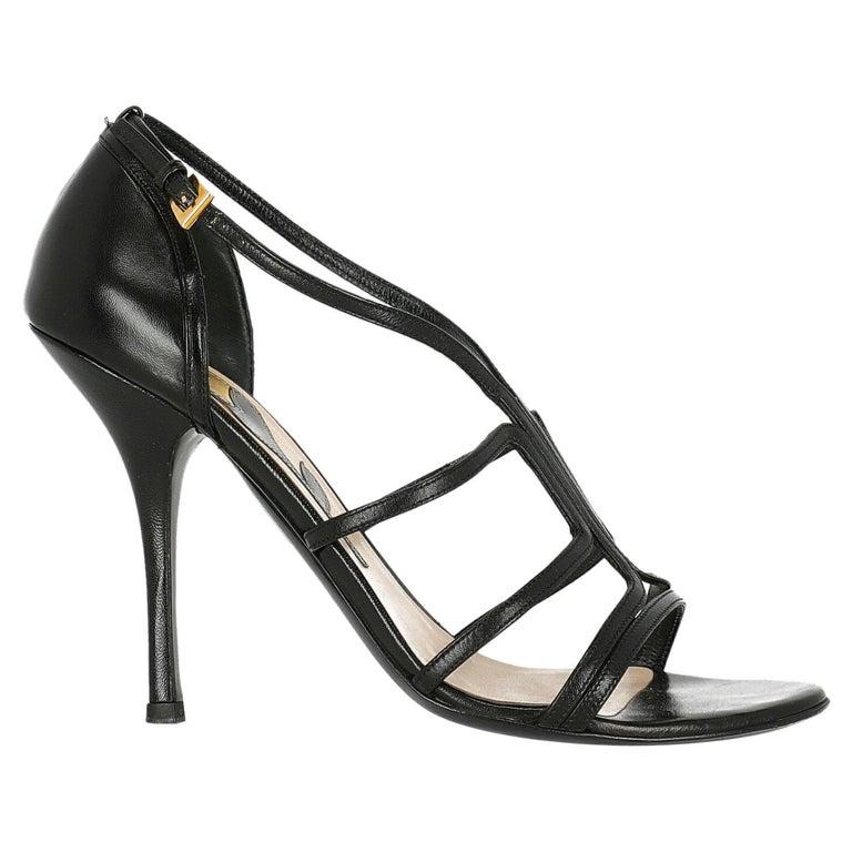 Prada  Women   Sandals  Black Leather EU 39.5 For Sale