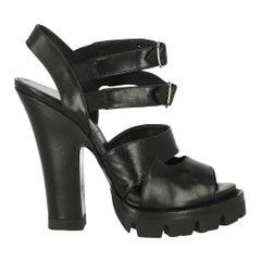 Prada Women  Sandals Black Leather IT 38.5