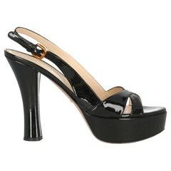 Prada Women  Sandals Black Leather IT 39