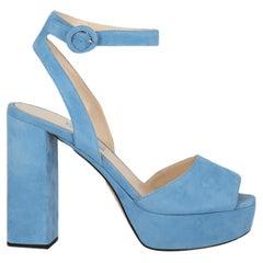 Prada  Women   Sandals  Blue Leather EU 38